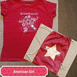 AMERICAN GIRL Charlotte t-shirt & drawstring bag